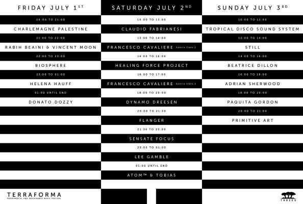 TF 2016 Programma giornaliero line up